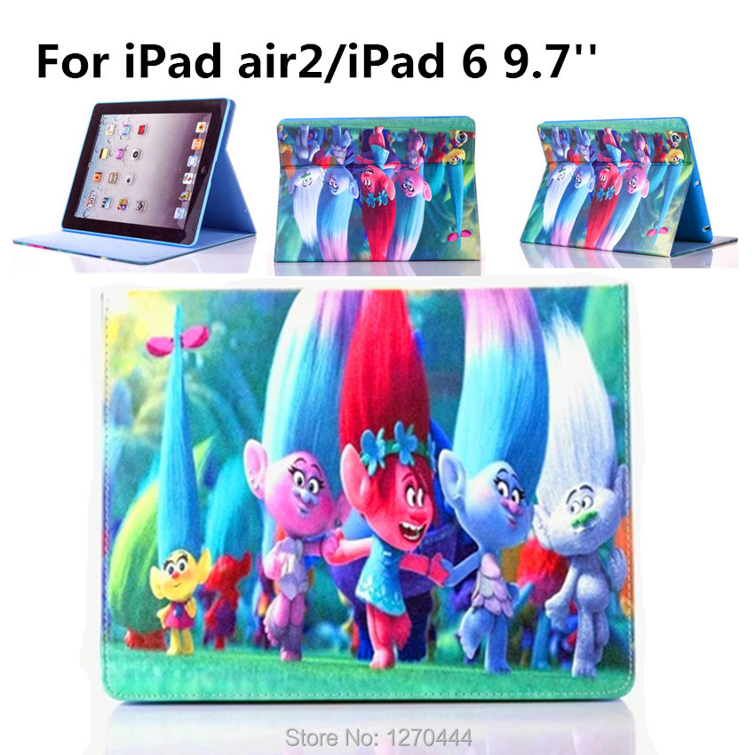 Magic wizard Cartoon Flip Stand Leather Case For Apple iPad Air Stand Case For IPAD 6/ipad air2 fashion child Silicone case+Gift