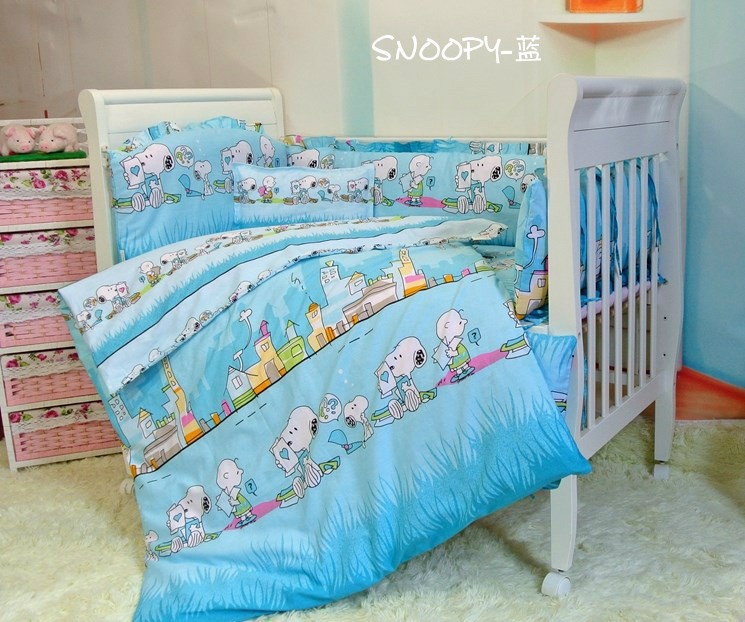Promotion! 7pcs Nursery bedding baby cartoon cotton crib bedding set (bumper+duvet+matress+pillow)