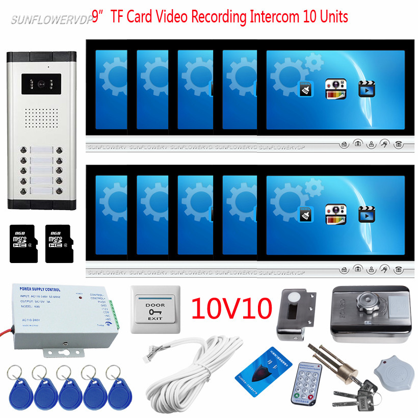 10 Apartments Video Phone House 10 Buttons Doorbell Camera With 8GB TF Card Video Recording 9 Color Monitors + Rfid Door Lock