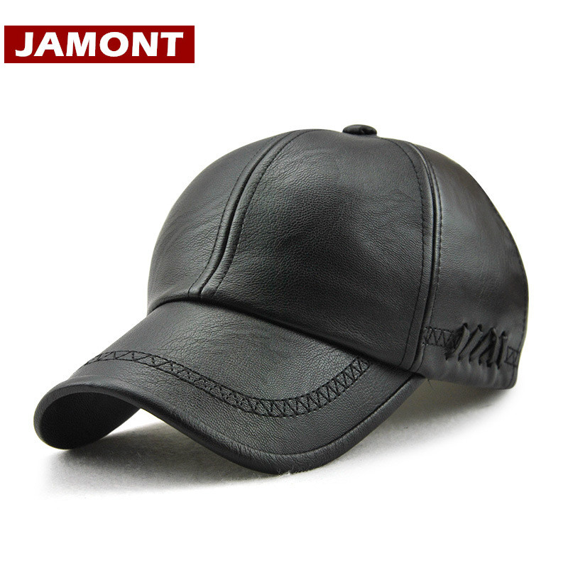 [JAMONT] New Design Men Baseball Cap Winter Snapback Hat 100% PU Leather Hats Winter Male Caps Simple Style Casquette brand winter hat knitted hats men women scarf caps mask gorras bonnet warm winter beanies for men skullies beanies hat