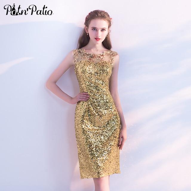 PotNPatio Gold Sequin Bridesmaid Dress Elegant O Neck Sleeveless Short Sheath Wedding Guest