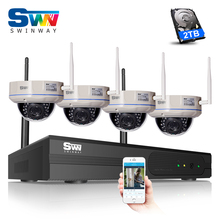 P2P 1080P HD Outdoor Vandalproof Dome WFI IP Camera Plug And Play 4CH Wireless NVR Security CCTV System Mobile APP Remote View