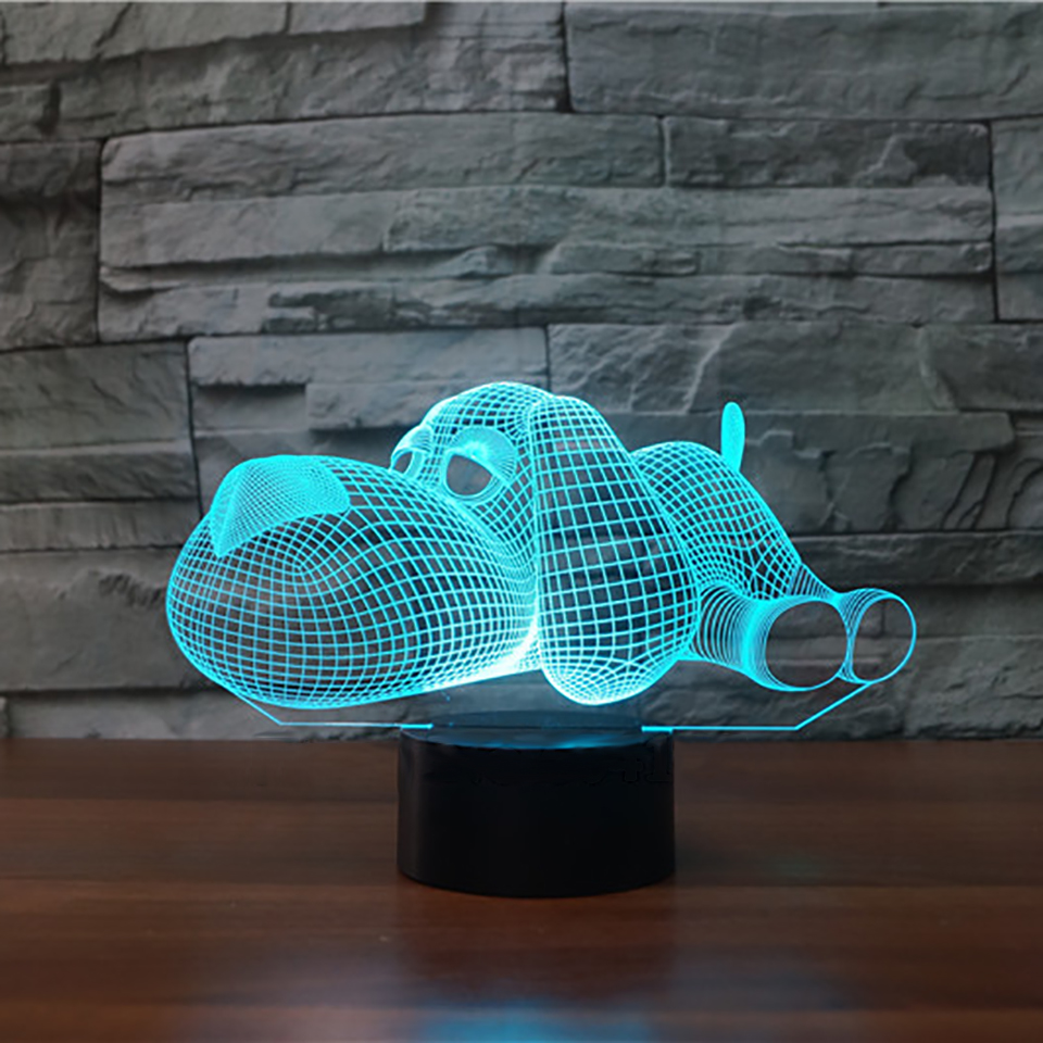 Lovely Dog 3D LED Night Light USB Animal Desk Table Lamp With Remote Touch 7 Color Changing Sensor Light Xmas Gift batman 3d lamp led remote control night light usb 7 colors changing decorative table lamp interesting gift hui yuan brand