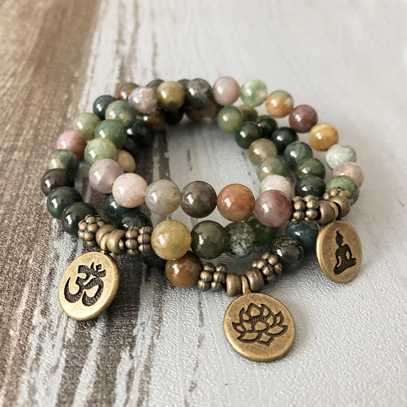 a1c2beca2980da Kunden India Stone Buddha Bracelet set For Man Om Lotus Yoga Mala Wrist  Nautral Stone beaded