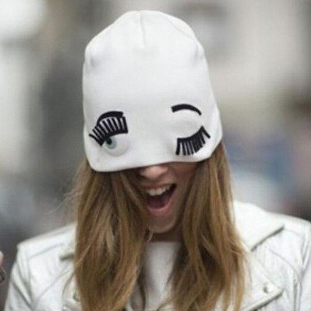 Новые Моды Шляпы для Женщин Зима Вязание Шапочки Большие Ресницы Wink Хиппи Глаз Sport Cap Женский Лыжный Skullies Gorros 1MZ0570