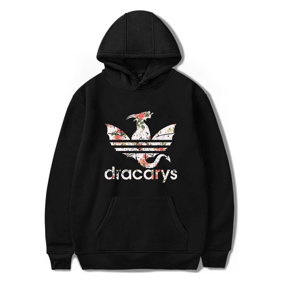 Game Of Throne Dracarys Print Comfortable Popular Hoodies Sweatshirt Men Fashion Hipster Casual Basic Pullovers Hoodies 4XL