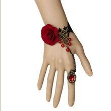 Женский готический браслет ручной работы с бусинами в виде красной
