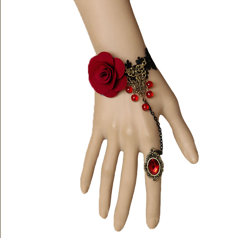 Handmade Gothic Womens Red Rose Flower Beads Drop Black Lace Adjustable Ring Bracelet Slave Set Bronze Alloy Retro Lolita Ball