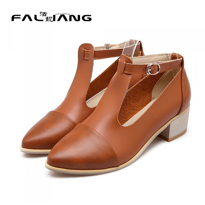 ФОТО Vintage Retro Hot New Female Pointy Toe Block Mid Heel Pumps Dress Office Ladeis Women T-Strap Fashion Casual Shoes Plus Size