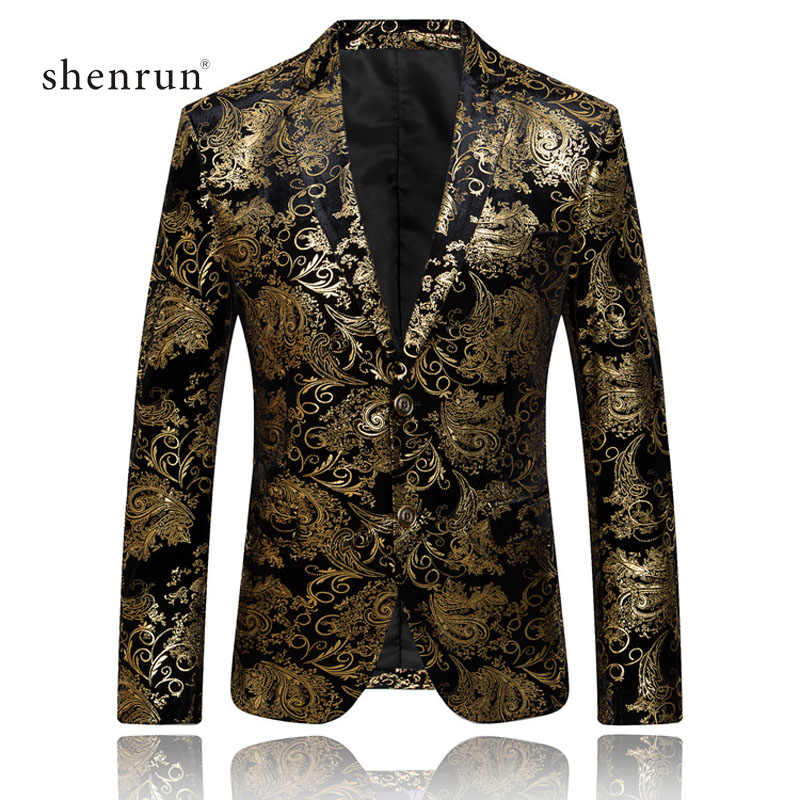 Shenrun Men Blazers Gold Silver Floral Pattern Velvet Jackets Slim Fit Male Suit Jacket Wedding Banquet Party Prom Stage Costume