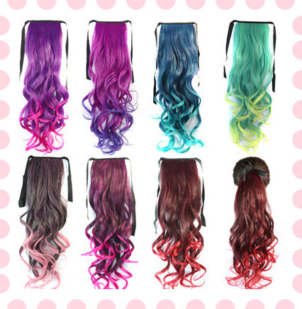 18 inch synthetic ponytail curly hair extension colored dyeing 18 inch synthetic ponytail curly hair extension colored dyeing false hair pony tail black burgundy purple highlight hairpieces on aliexpress alibaba pmusecretfo Images