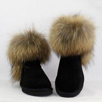 4a5946d82 Дешевые UVWP/высококачественные женские зимние сапоги из натурального  Лисьего меха модные женские сапоги из натуральной