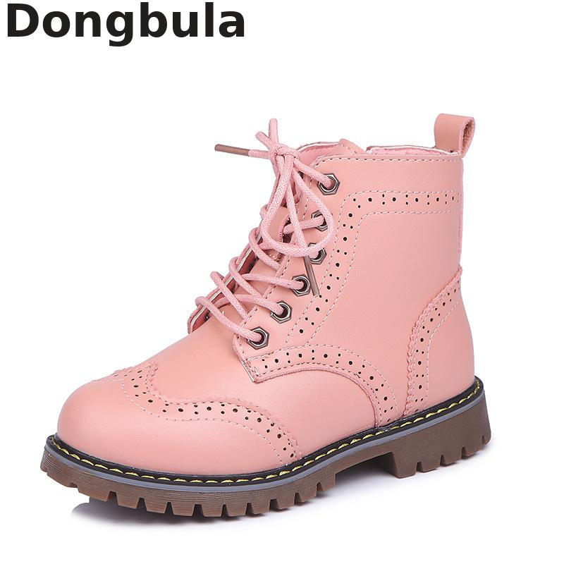 New Girl Leather Martin Boots Shoes For Girls Children Non-slip Warm Boots Fashion Soft Bottom Boys Girls Boots Kids Sneakers
