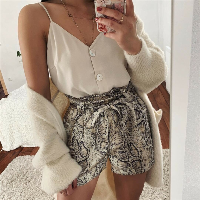 Fashion Women Snkae Print High Waist Shorts Elegant Ladies Summer Trousers Dames Loose Snakeskin Short Feminino Streetwear