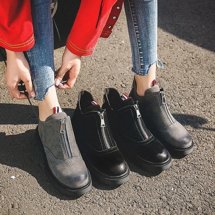 9cbacdb2d09d7 Detalle Comentarios Preguntas sobre Planos zapatos casuales zapatos de mujer  verano nueva cremallera bien corta botas de color bajo con Martin botas en  ...