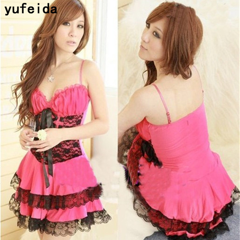 YUFEIDA Sexy Lace Dress Ball Gown Slip Kimono Intimate Sex Products Sleepwear Robe Sexy Night Gown Women Sexy Dress