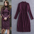 2016 Brand New Celebrity Princess Kate Style Formal Designing Mandarin Collar Slim Burgundy Lace Dress High Quality