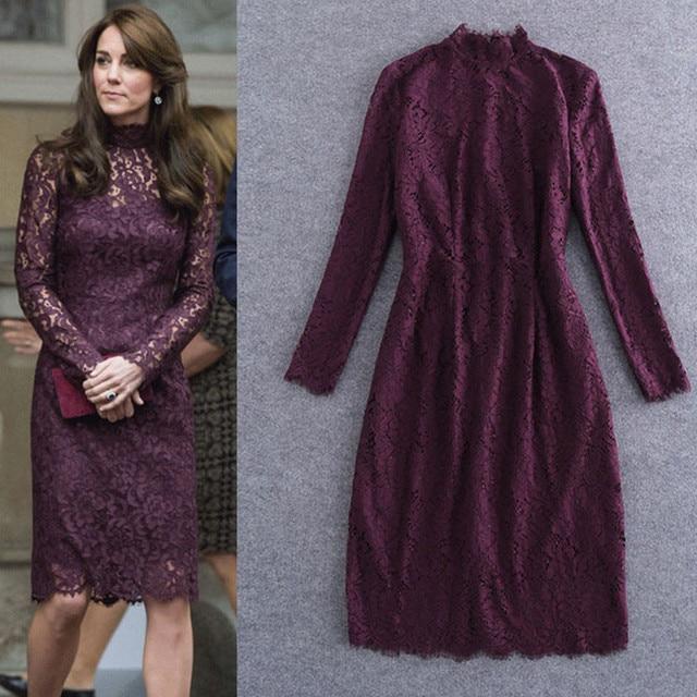 2016 Brand New Celebrity Principessa Kate Style Formale Progettazione Collare Del Mandarino Slim Borgogna Abito di Pizzo di Alta Qualità