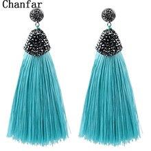 Vintage Bohemian Crystal Long Silk Tassel Earring Women Rhinestone Charm Stainless Steel Dangle Drop Earrings Boho