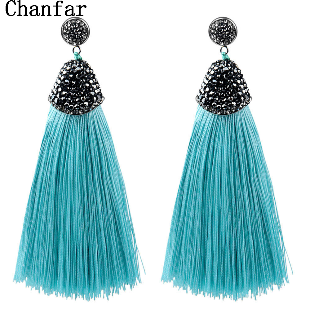 Vintage Bohemian Crystal Long Silk Tassel Earring Women Rhinestone Charm Stainless Steel Dangle Drop Earring For Wedding Jewelry