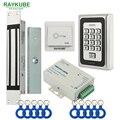 RAYKUBE Elétrica Magnetic Bloqueio 180 KG/280 KG Sistema de Controle de Acesso Kit + Metal FRID Teclado + Botão Exit + Chave RFID Berloques