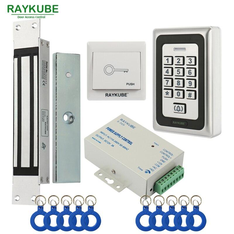 RAYKUBE Elettrico Serratura Magnetica 180 KG/280 KG Access Control System Kit + Metallo FRID Tastiera + Tasto di Uscita + Portachiavi RFID
