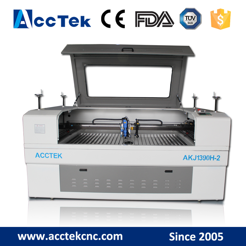 Double heads 1390 metal cnc laser cutting machine , cnc laser cutter for fabric , leather , acrylic