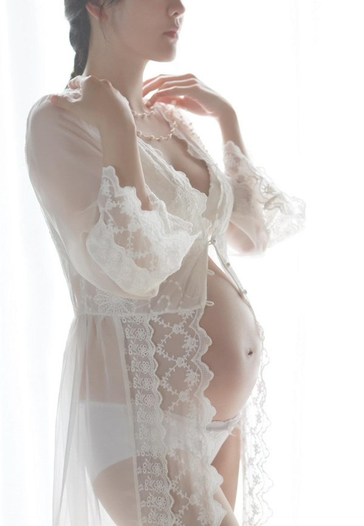 2016 white lace summer style Women Robes court lace white sleeping princess dress the bride sexy pajamas pregnant photo shoot