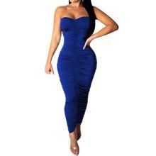цена на Women Bodycon Bandgae Slim Pencil Dress Sexy Off Shoulder Sleeveless Pleated Maxi Dress Summer Elegant Femme Clothing Vestidos