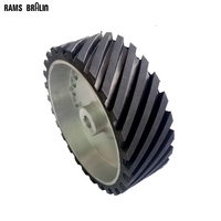 300 100 26mm Belt Grinder Contact Wheel Grooved Rubber Polishing Wheel Dynamically Balanced