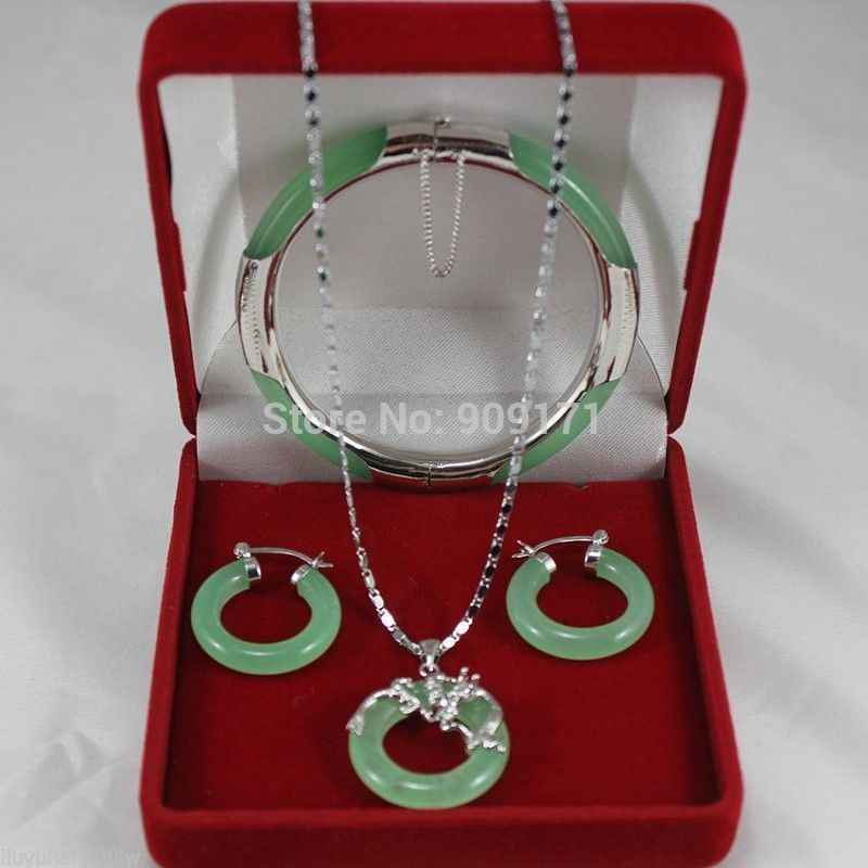 Atacado conjuntos de jóias para as mulheres choker anime pedra de gema natural branco banhado a jóia verde colar pulseira brincos set