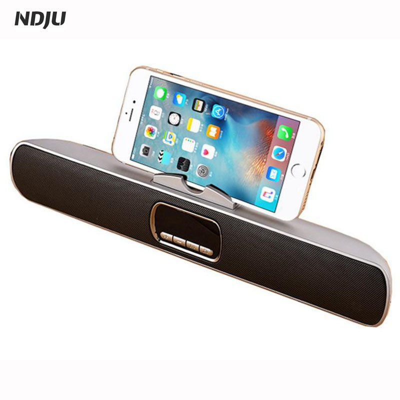 NDJU Bluetooth Speaker Wireless Bass Hoparlar LED Display 3D Stereo FM Radio TF AUX altavoz with stands for iphone Smartpone