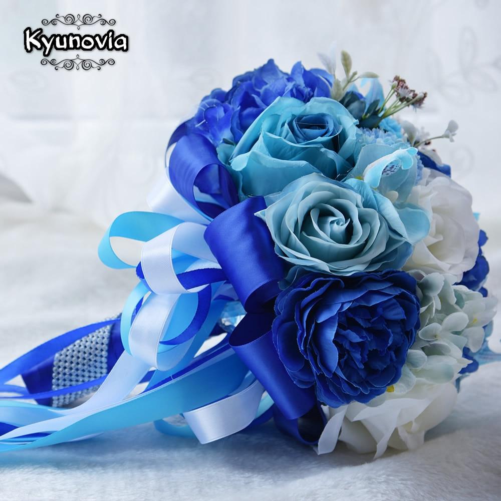 Kyunovia Mint Blue Wedding Bouquet Konstgjord Siden Bride Bouquet - Bröllopstillbehör - Foto 5