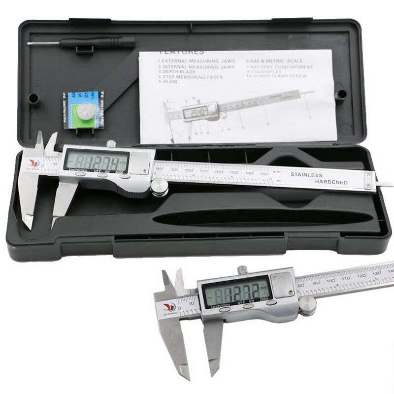 1 PC de Metal Polegadas 150mm Inoxidável Eletrônico Digital Vernier Caliper Ferramentas de Medição Micrômetro Compassos de Calibre Vernier P0.11