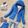 Новый 2017 Женщины Дизайн Зима Теплая Конфеты Цвет Худощавое Пуховик Мода Капюшоном Куртки Пальто Молния Верхняя Одежда Плюс размер