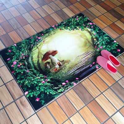 2017 High Home Rugs Living Room Doormat Green Tree Mushroom Dream Print Carpets Door Floor Mat for Bedroom Carpet Kids Room C105