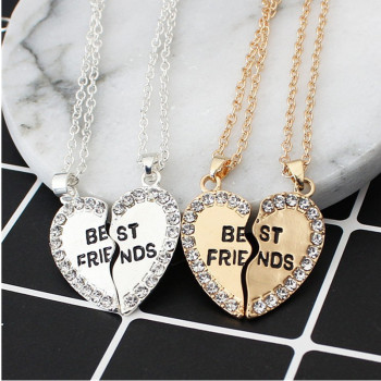 2 pieces / set Half love rhinestone pendant best friend necklace friendship gift for couple good frien dalloy pendant necklace 1
