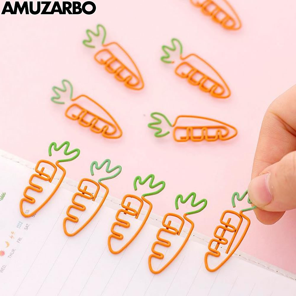 10pcs/pack Cartoon Metal Bookmark Clip Cute Carrot Pink Rose Gold Flamingo Paper Clip Holder For Books Novelty Items Stationery