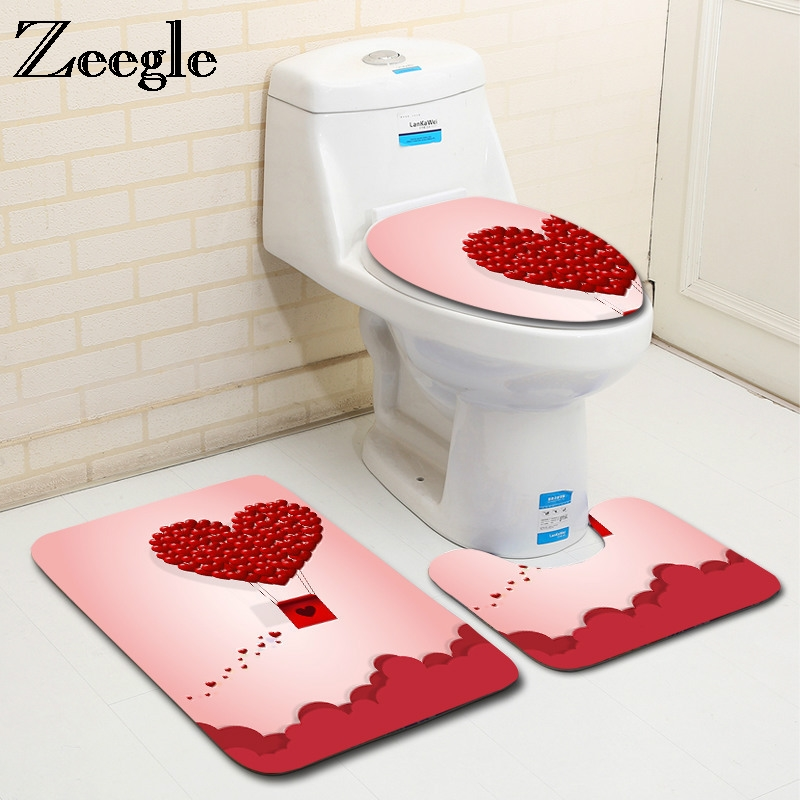 Zeegle Valentine's Pattern 3Pcs Bath Mat Set Toilet Rugs Anti-slip Toilet Floor Mats Bathroom Rugs Flannel Toilet Seat Cover