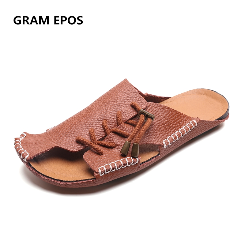 GRAM EPOS 2018 Men Genuine Leather hand Woven super cool Beach Sandals Male Slides Shoes Comfort Causal Men summer loafer