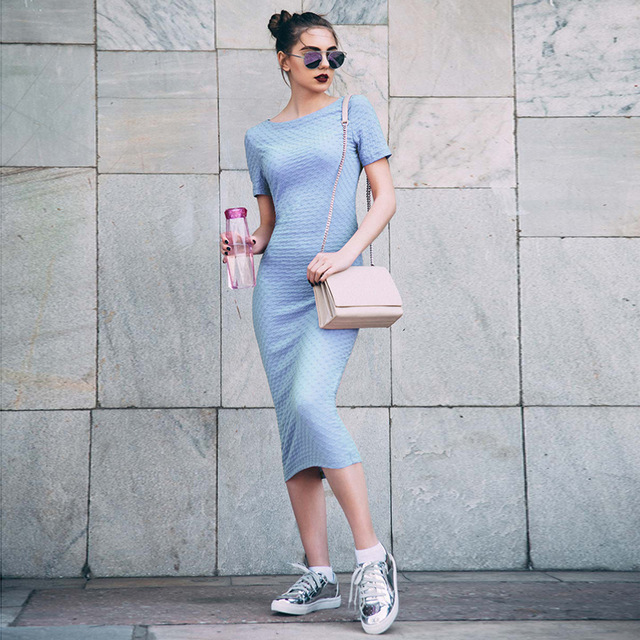 2017 Women Jacquard font b Dress b font Blue Bodycon Short Sleeve Women Knee Length font