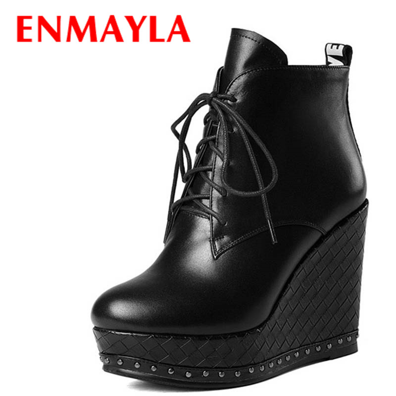 ENMAYLA Lace-up Mew Ankle Boots for Women High Heels Wedges Size 34-39 Round Toe Autumn and Winter Boots Platform Shoes Riding enmayla ankle boots for women low heels autumn and winter boots shoes woman large size 34 43 round toe motorcycle boots