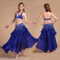 Belly Dance Dress Women Suit Dancing Costume Set Sequins Sexy Bellydance Bra Long Skirt Belt Ladies Wear Tribal India Clothing