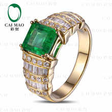 CaiMao 1.6 ct Natural Emerald 18KT/750  Yellow Gold  0.7 ct Full Cut Diamond Engagement Ring Jewelry Gemstone colombian