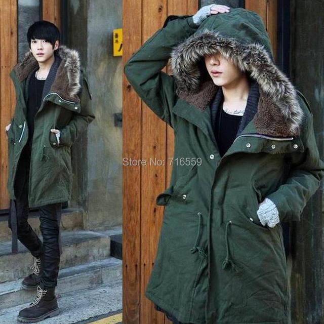 Hiver Casual Canada Mens col de fourrure armée manteau vert manteaux outwear militaire veste ropa hombre d'hiver des hommes Parka manteaux