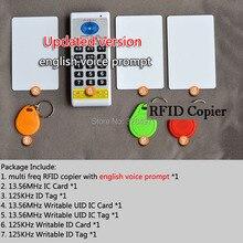 125khz 13.56 mhz rfid leitor de cartão, id/ic nfc leitor de cartão e gravador/copiadora/programador + em4100/em4305/t5577/m1 s50 uid etiqueta alterável regravável