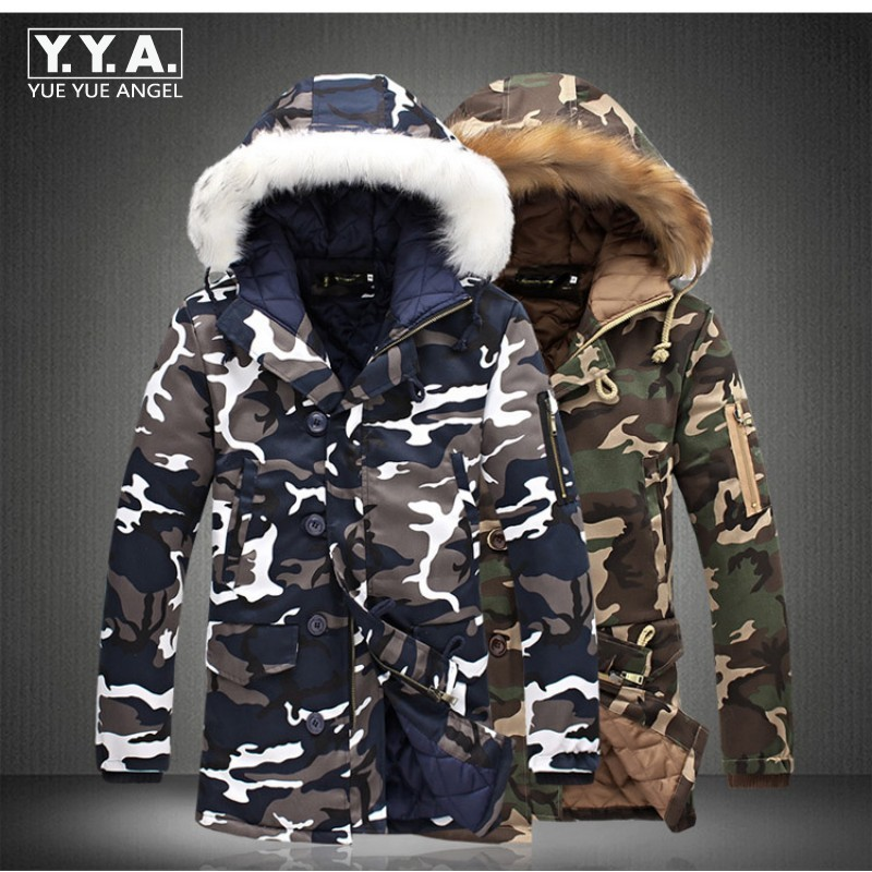 New Arrival Top Fashion Winter Mens Thicken Camo Jacket Coat For Man Fur Hooded Cotton Padded Warm Outwear Male Parka Size S-5XL