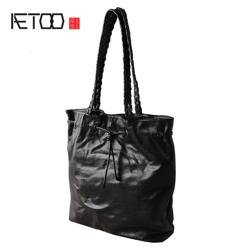 AETOO Leather shoulder bag big bag 2017 new retro fashion soft leather bag first layer leather shopping bag handbags aetoo women retro shoulder bag fashion handbags europe and america shoulder bag head layer cowhide mad horse shopping bag