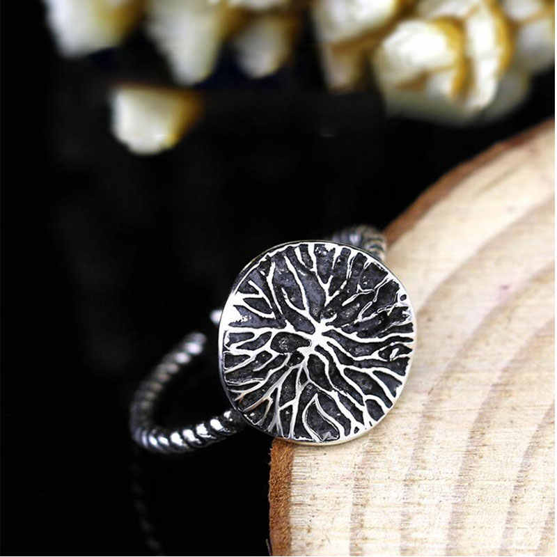 Anenjery Vintage Fashion Lotus Leaf Adjustable Thai Silver Ring For Women 925 Sterling Silver Rings Jewelry anillos S-R301