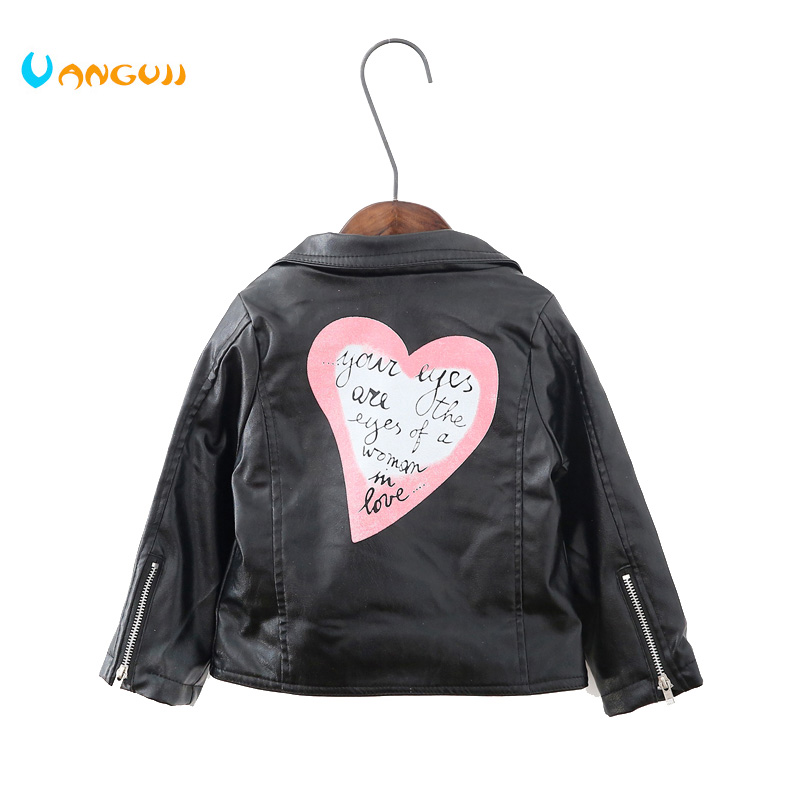 2017 autumn winter hot children PU jacket, 2-7 year old girl fashion love, lapel leather motorcycle leather jacket